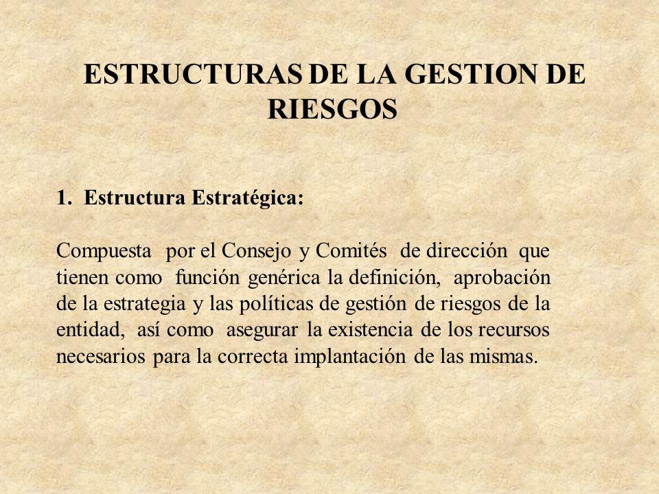 ESTRUCTURAS DE LA GESTION DE RIESGOS 1. Estructura Estratégica: Compuesta por el Consejo y Comités de dirección que tienen como función genérica la de