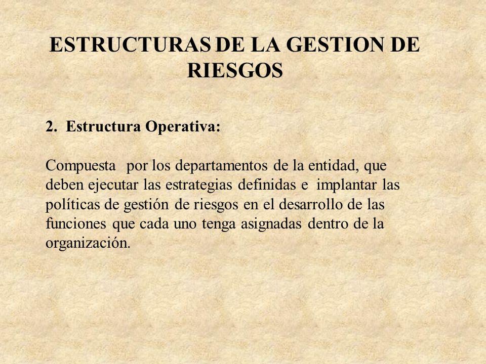 ESTRUCTURAS DE LA GESTION DE RIESGOS 2. Estructura Operativa: Compuesta por los departamentos de la entidad, que deben ejecutar las estrategias defini