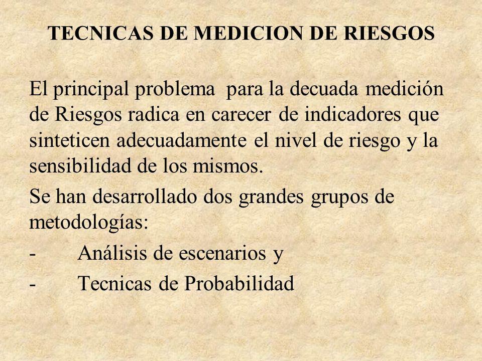TECNICAS DE MEDICION DE RIESGOS El principal problema para la decuada medición de Riesgos radica en carecer de indicadores que sinteticen adecuadament