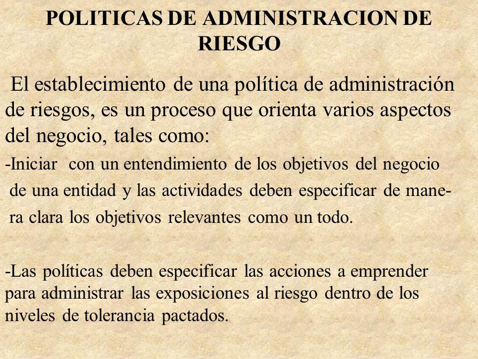 POLITICAS DE ADMINISTRACION DE RIESGO El establecimiento de una política de administración de riesgos, es un proceso que orienta varios aspectos del n