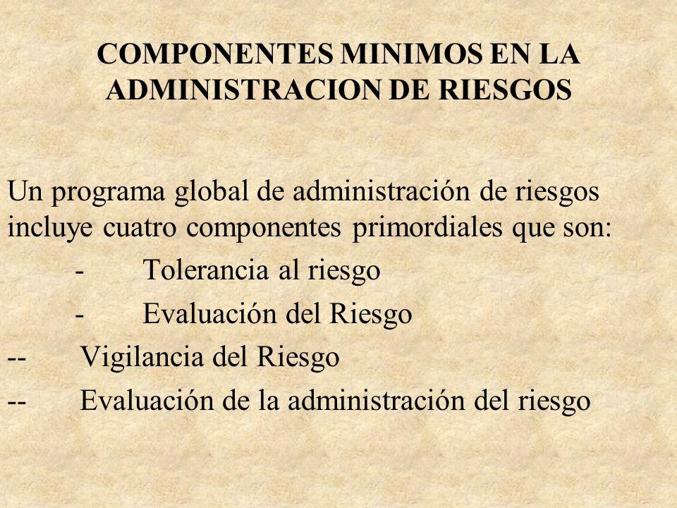 COMPONENTES MINIMOS EN LA ADMINISTRACION DE RIESGOS Un programa global de administración de riesgos incluye cuatro componentes primordiales que son: -