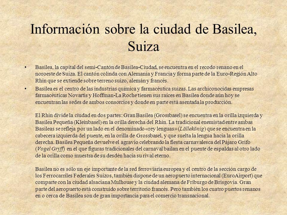 Información sobre la ciudad de Basilea, Suiza Basilea, la capital del semi-Cantón de Basilea-Ciudad, se encuentra en el recodo renano en el noroeste d