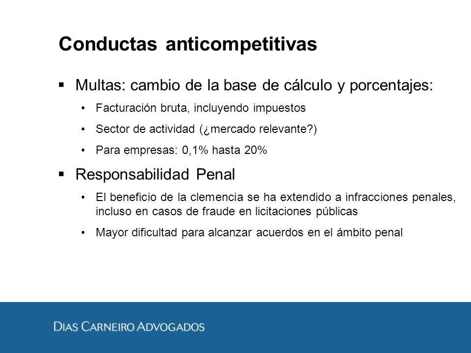Conductas anticompetitivas Multas: cambio de la base de cálculo y porcentajes: Facturación bruta, incluyendo impuestos Sector de actividad (¿mercado r