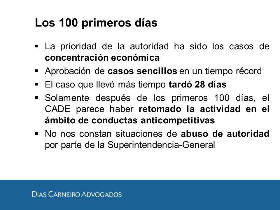 Los 100 primeros días La prioridad de la autoridad ha sido los casos de concentración económica Aprobación de casos sencillos en un tiempo récord El c