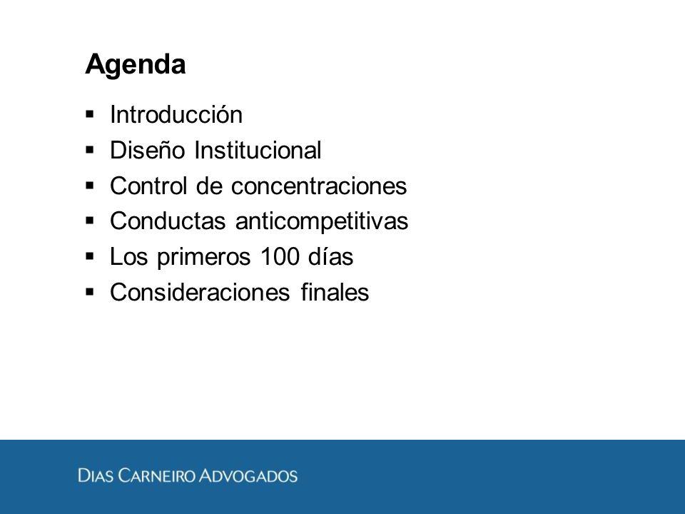 Agenda Introducción Diseño Institucional Control de concentraciones Conductas anticompetitivas Los primeros 100 días Consideraciones finales