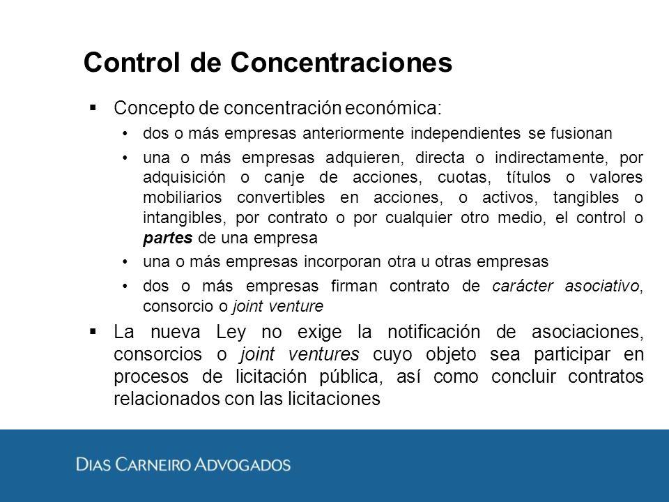 Control de Concentraciones Concepto de concentración económica: dos o más empresas anteriormente independientes se fusionan una o más empresas adquier