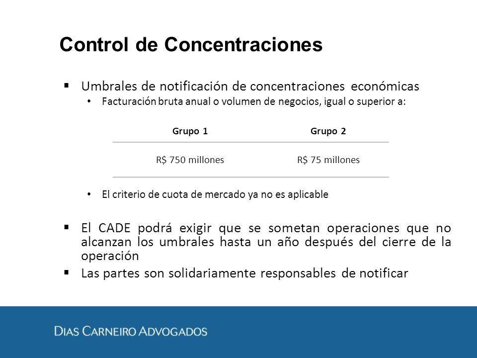 Control de Concentraciones Umbrales de notificación de concentraciones económicas Facturación bruta anual o volumen de negocios, igual o superior a: E