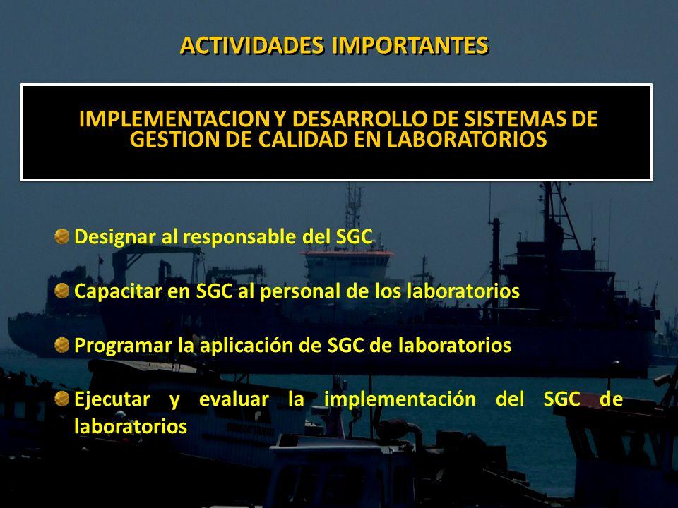 IMPLEMENTACION Y DESARROLLO DE SISTEMAS DE GESTION DE CALIDAD EN LABORATORIOS Designar al responsable del SGC Capacitar en SGC al personal de los labo