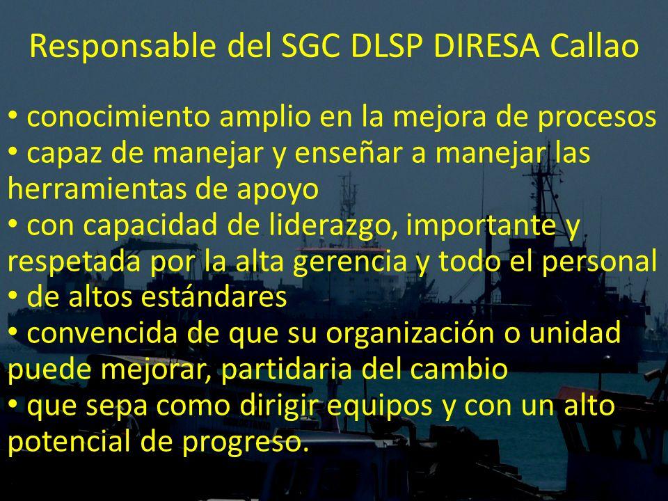 Responsable del SGC DLSP DIRESA Callao conocimiento amplio en la mejora de procesos capaz de manejar y enseñar a manejar las herramientas de apoyo con