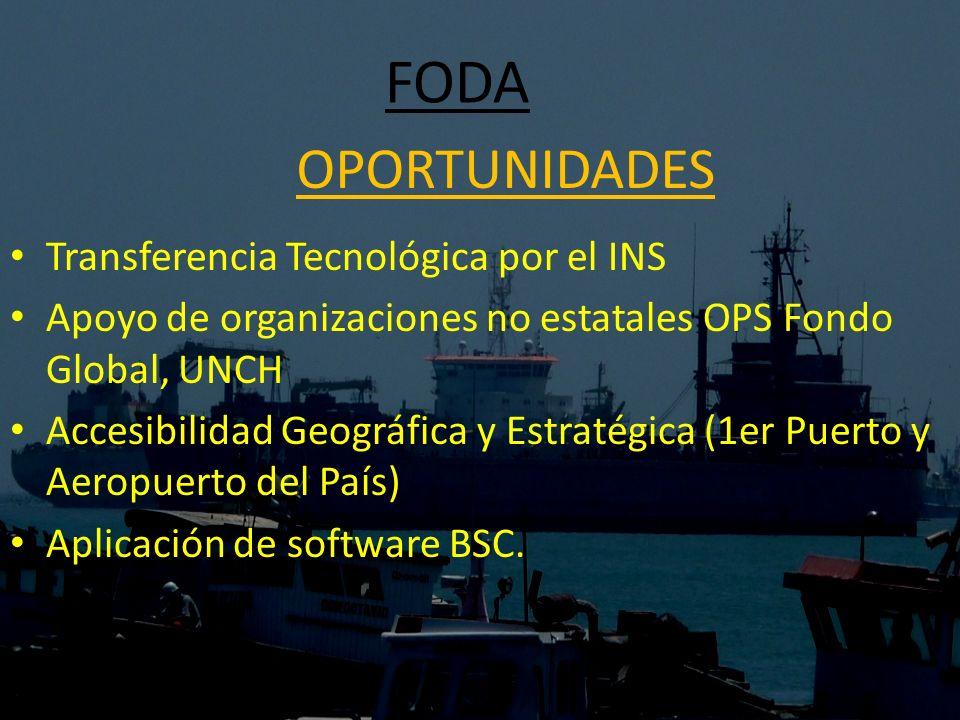 OPORTUNIDADES Transferencia Tecnológica por el INS Apoyo de organizaciones no estatales OPS Fondo Global, UNCH Accesibilidad Geográfica y Estratégica (1er Puerto y Aeropuerto del País) Aplicación de software BSC.
