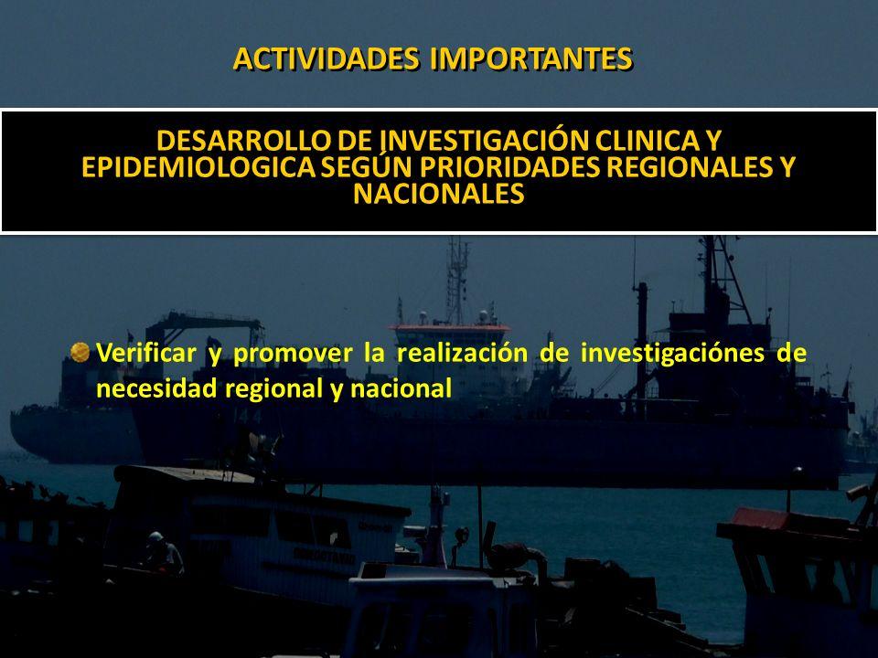 DESARROLLO DE INVESTIGACIÓN CLINICA Y EPIDEMIOLOGICA SEGÚN PRIORIDADES REGIONALES Y NACIONALES Verificar y promover la realización de investigaciónes de necesidad regional y nacional ACTIVIDADES IMPORTANTES