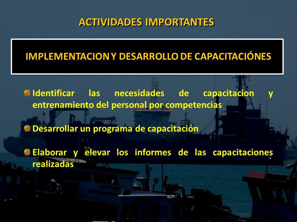 IMPLEMENTACION Y DESARROLLO DE CAPACITACIÓNES Identificar las necesidades de capacitacion y entrenamiento del personal por competencias Desarrollar un