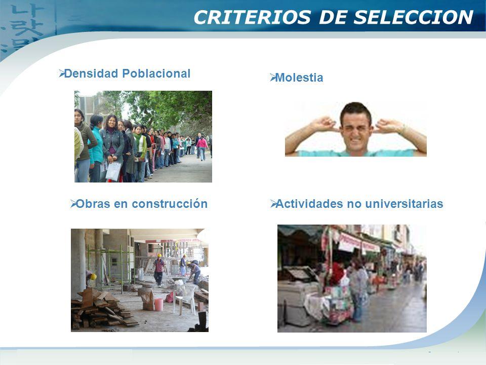 www.themegallery.comCompany Logo CRITERIOS DE SELECCION Densidad Poblacional Molestia Obras en construcción Actividades no universitarias