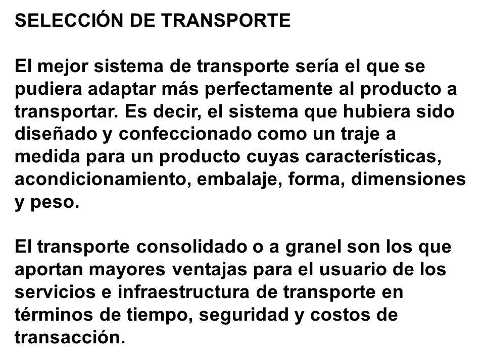 SELECCIÓN DE TRANSPORTE El mejor sistema de transporte sería el que se pudiera adaptar más perfectamente al producto a transportar.