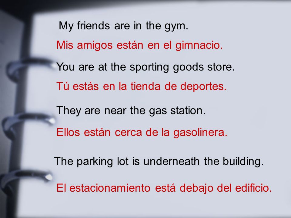 My friends are in the gym. Mis amigos están en el gimnacio.