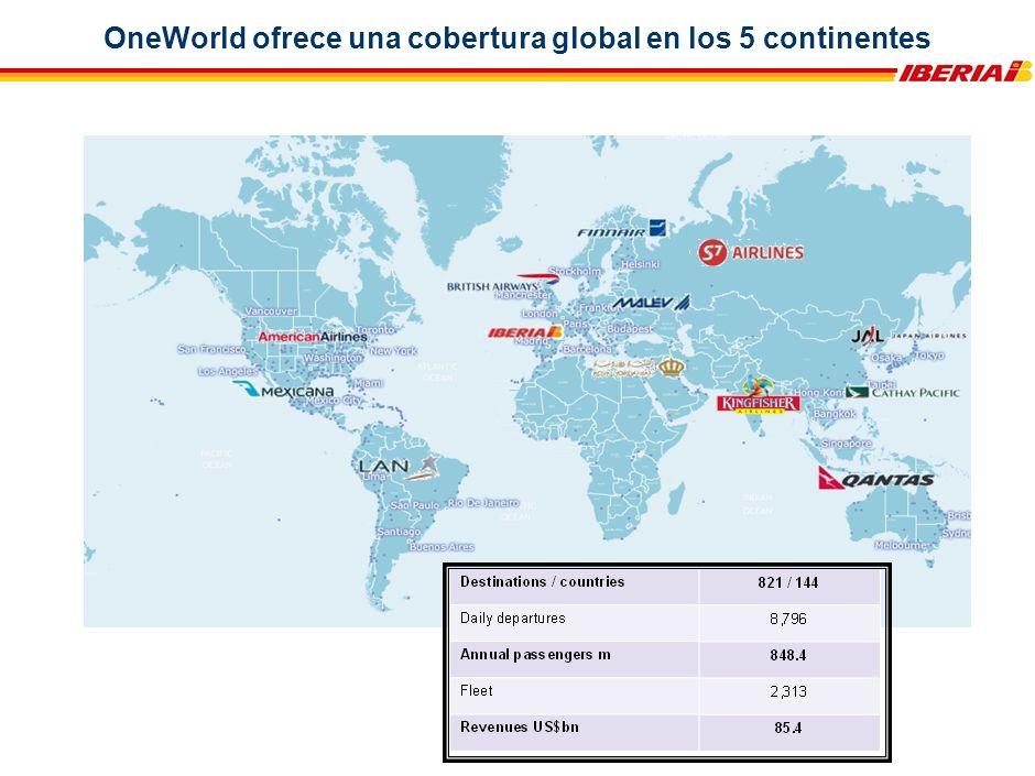OneWorld ofrece una cobertura global en los 5 continentes
