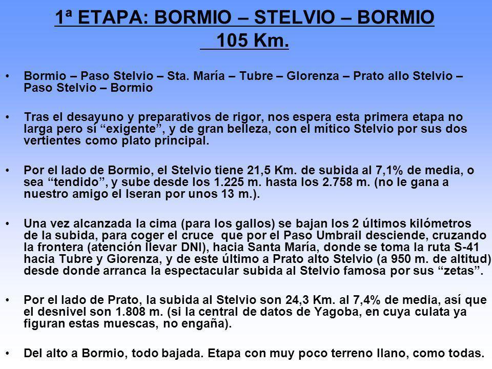 1ª ETAPA: BORMIO – STELVIO – BORMIO 105 Km. Bormio – Paso Stelvio – Sta. María – Tubre – Glorenza – Prato allo Stelvio – Paso Stelvio – Bormio Tras el