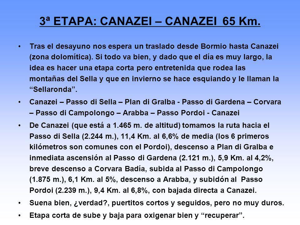 3ª ETAPA: CANAZEI – CANAZEI 65 Km. Tras el desayuno nos espera un traslado desde Bormio hasta Canazei (zona dolomítica). Si todo va bien, y dado que e
