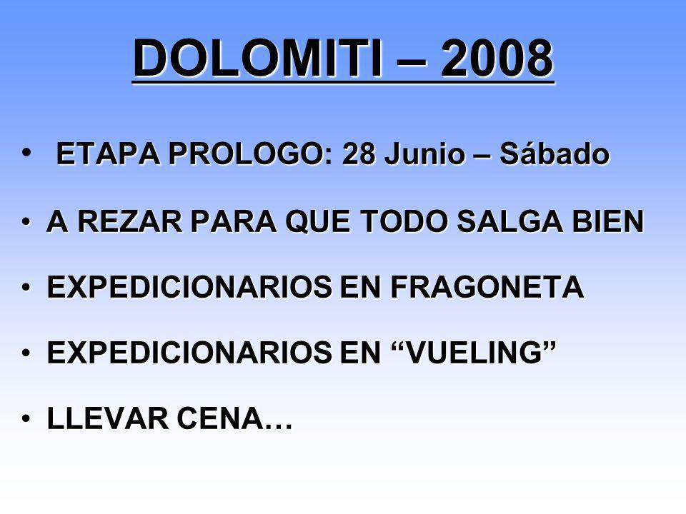 Traslado de material por carretera Concentración a las 13:00 Desplazamiento a Zaragoza Aeropuerto Vuelo Zaragoza-Bérgamo (Ryanair 18:15/20:05) Recoger Furgonetas Traslado a Bormio (aprox.