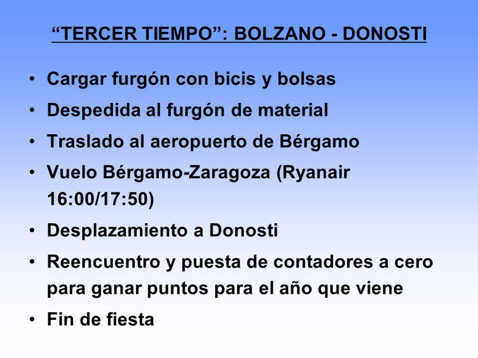 TERCER TIEMPO: BOLZANO - DONOSTI Cargar furgón con bicis y bolsas Despedida al furgón de material Traslado al aeropuerto de Bérgamo Vuelo Bérgamo-Zara