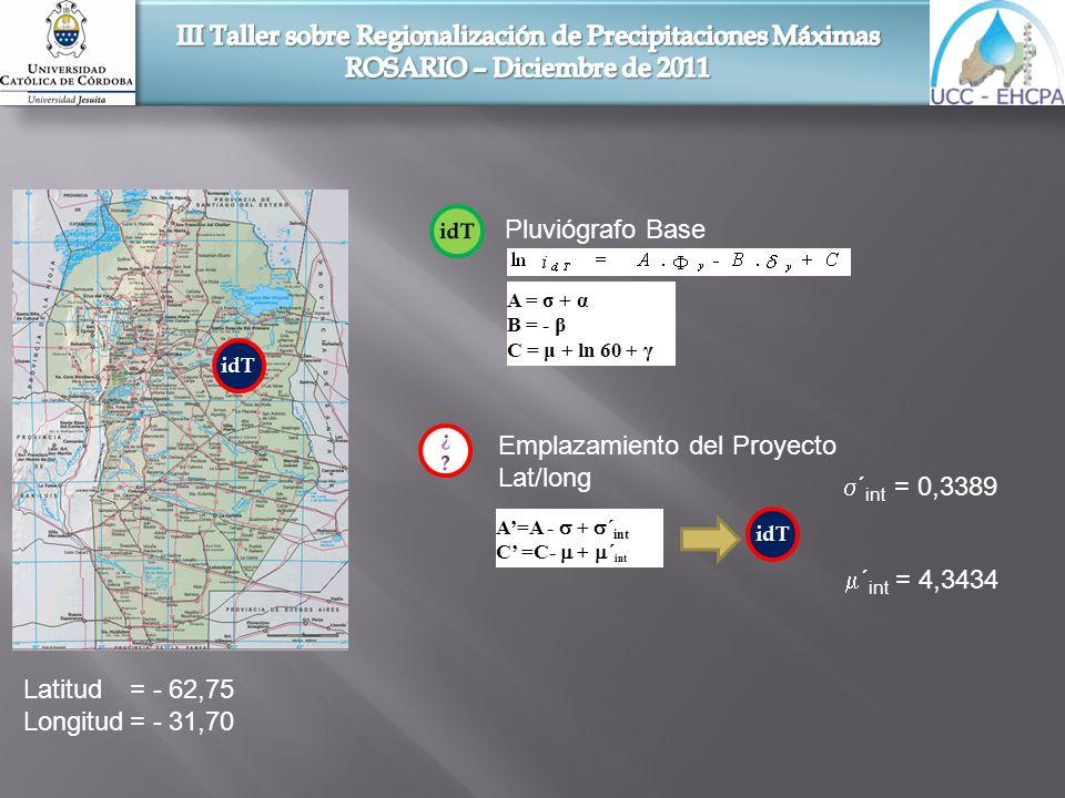 Latitud= - 62,75 Longitud= - 31,70 ´ int = 0,3389 ´ int = 4,3434 idT Pluviógrafo Base A = σ + α B = - β C = μ + ln 60 + γ idT Emplazamiento del Proyec