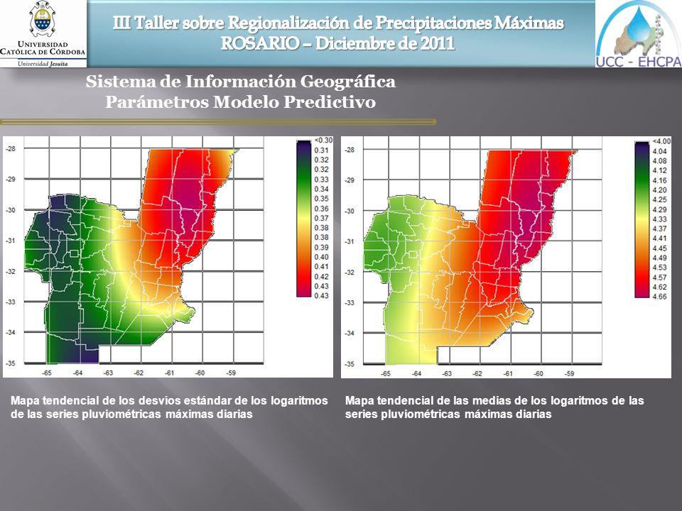 Sistema de Información Geográfica Parámetros Modelo Predictivo Mapa tendencial de los desvíos estándar de los logaritmos de las series pluviométricas