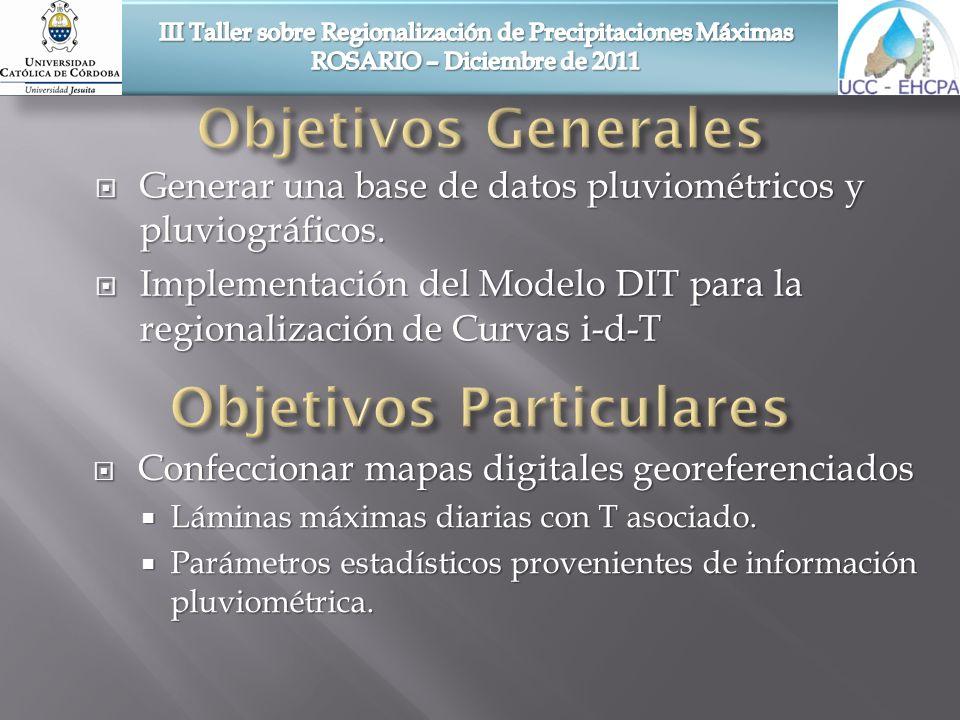 Confeccionar mapas digitales georeferenciados Confeccionar mapas digitales georeferenciados Láminas máximas diarias con T asociado. Láminas máximas di