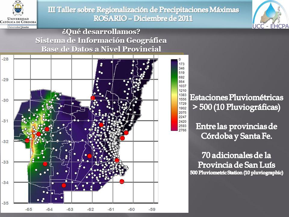 Sistema de Información Geográfica Parámetros Modelo Predictivo Ubicación espacial de las estaciones pluviométricas seleccionadas para la regionalización de curvas i-d-T