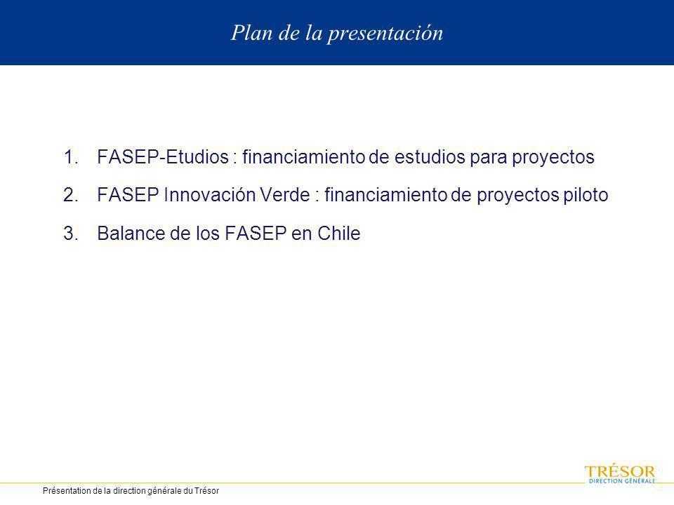 Plan de la presentación 1.FASEP-Etudios : financiamiento de estudios para proyectos 2.FASEP Innovación Verde : financiamiento de proyectos piloto 3.Balance de los FASEP en Chile Présentation de la direction générale du Trésor