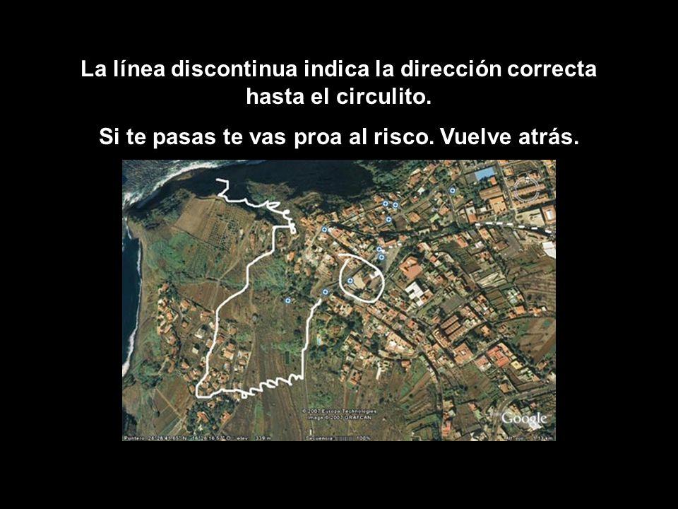 La línea discontinua indica la dirección correcta hasta el circulito.