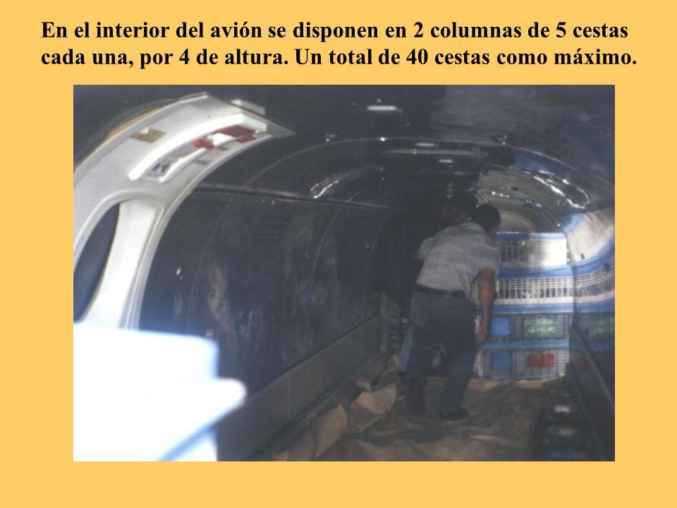Se van introduciendo en el interior del avión a 4 cestas de altura