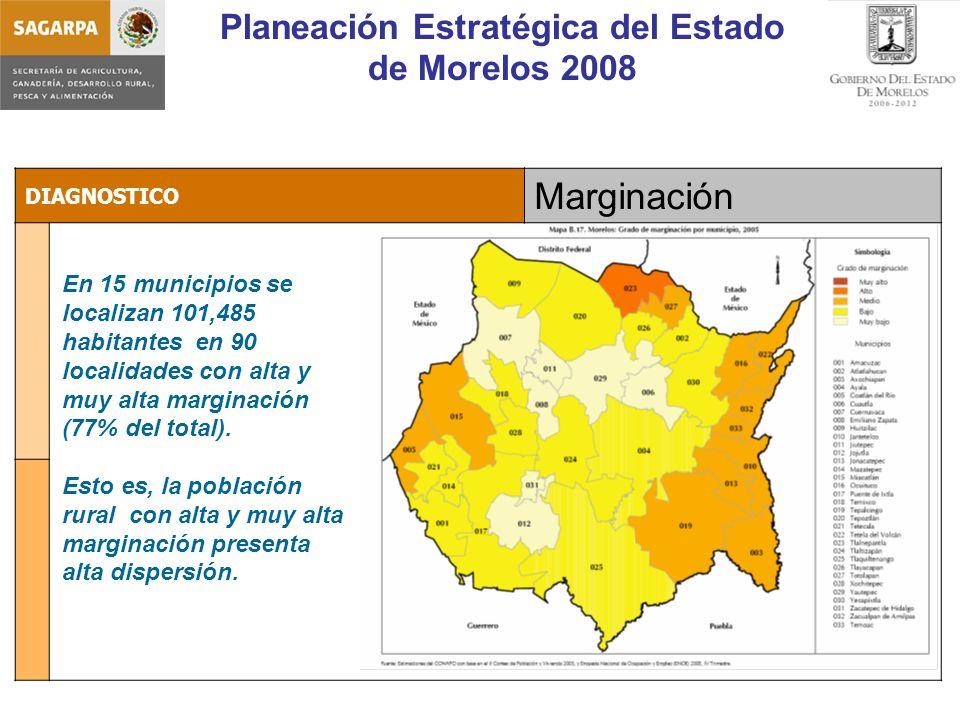 Planeación Estratégica del Estado de Morelos 2008 DIAGNOSTICO Marginación En 15 municipios se localizan 101,485 habitantes en 90 localidades con alta y muy alta marginación (77% del total).