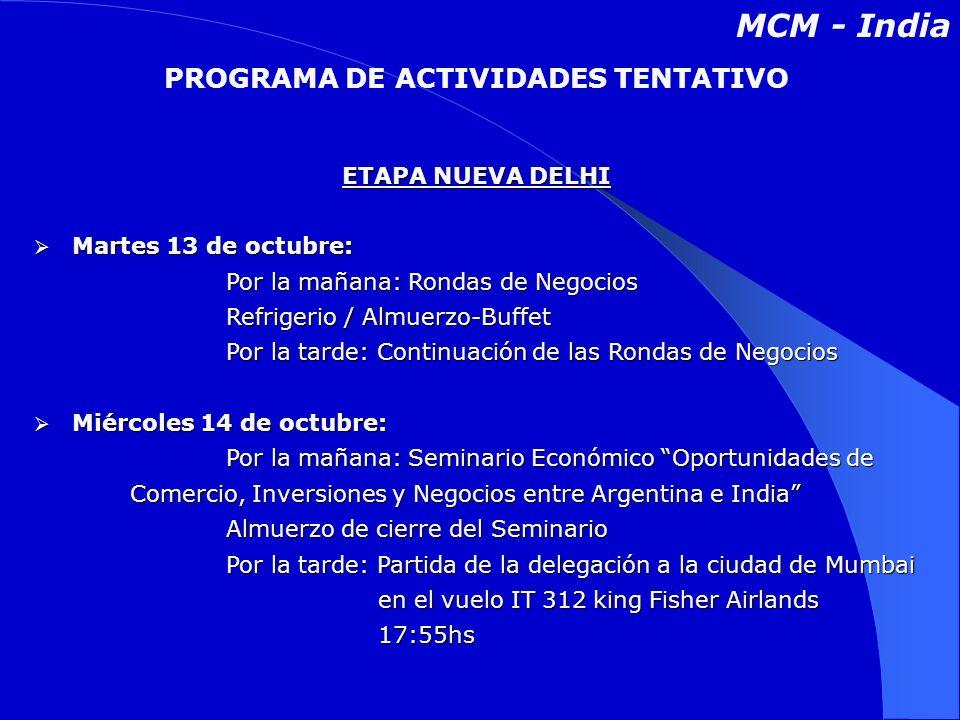 ETAPA NUEVA DELHI Martes 13 de octubre: Martes 13 de octubre: Por la mañana: Rondas de Negocios Por la mañana: Rondas de Negocios Refrigerio / Almuerzo-Buffet Por la tarde: Continuación de las Rondas de Negocios Miércoles 14 de octubre: Miércoles 14 de octubre: Por la mañana: Seminario Económico Oportunidades de Comercio, Inversiones y Negocios entre Argentina e India Por la mañana: Seminario Económico Oportunidades de Comercio, Inversiones y Negocios entre Argentina e India Almuerzo de cierre del Seminario Por la tarde: Partida de la delegación a la ciudad de Mumbai en el vuelo IT 312 king Fisher Airlands 17:55hs PROGRAMA DE ACTIVIDADES TENTATIVO MCM - India