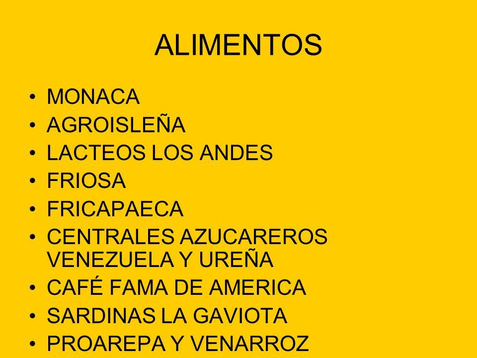 ALIMENTOS MONACA AGROISLEÑA LACTEOS LOS ANDES FRIOSA FRICAPAECA CENTRALES AZUCAREROS VENEZUELA Y UREÑA CAFÉ FAMA DE AMERICA SARDINAS LA GAVIOTA PROARE