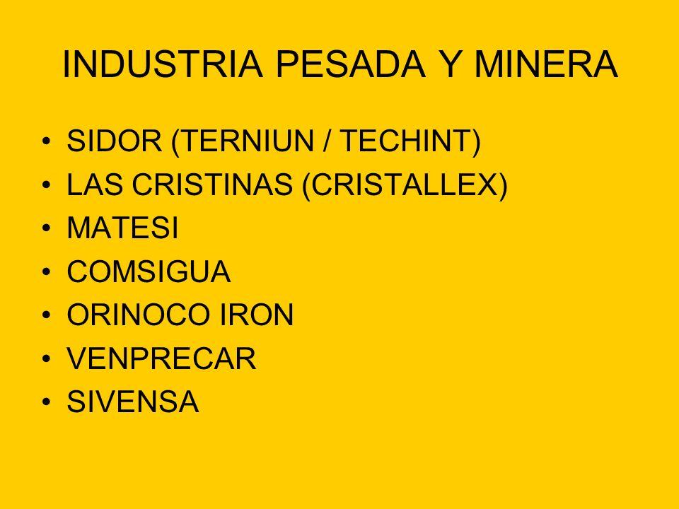INDUSTRIA PESADA Y MINERA SIDOR (TERNIUN / TECHINT) LAS CRISTINAS (CRISTALLEX) MATESI COMSIGUA ORINOCO IRON VENPRECAR SIVENSA