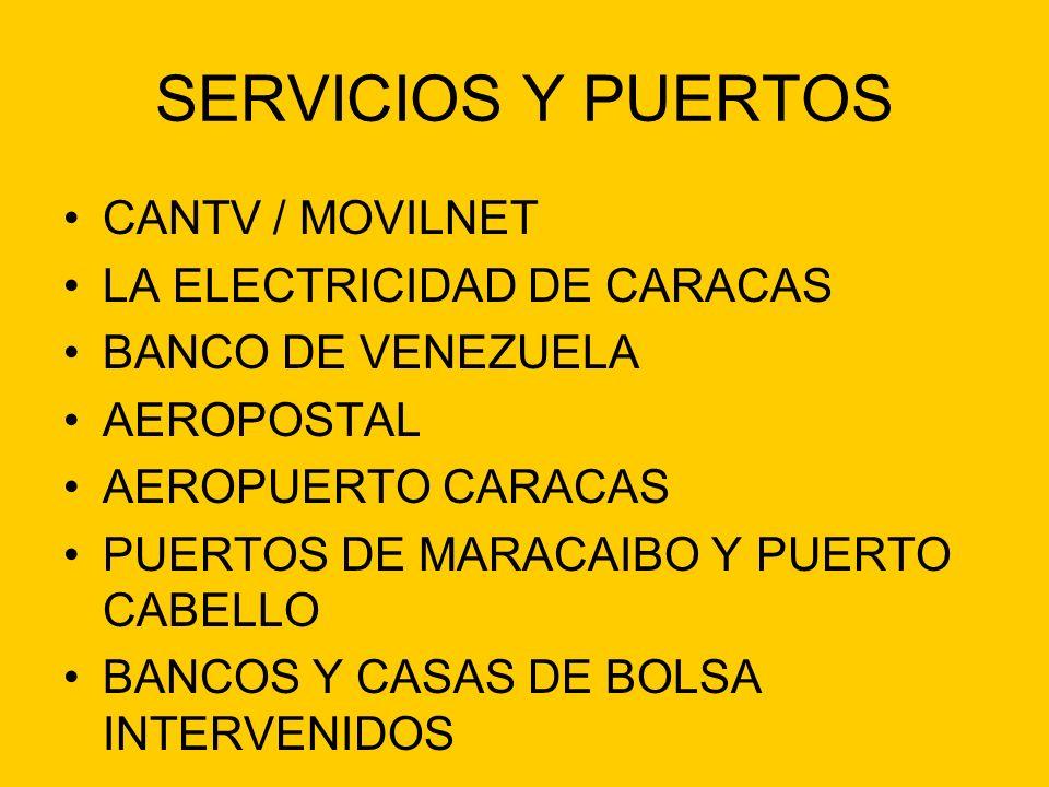 SERVICIOS Y PUERTOS CANTV / MOVILNET LA ELECTRICIDAD DE CARACAS BANCO DE VENEZUELA AEROPOSTAL AEROPUERTO CARACAS PUERTOS DE MARACAIBO Y PUERTO CABELLO