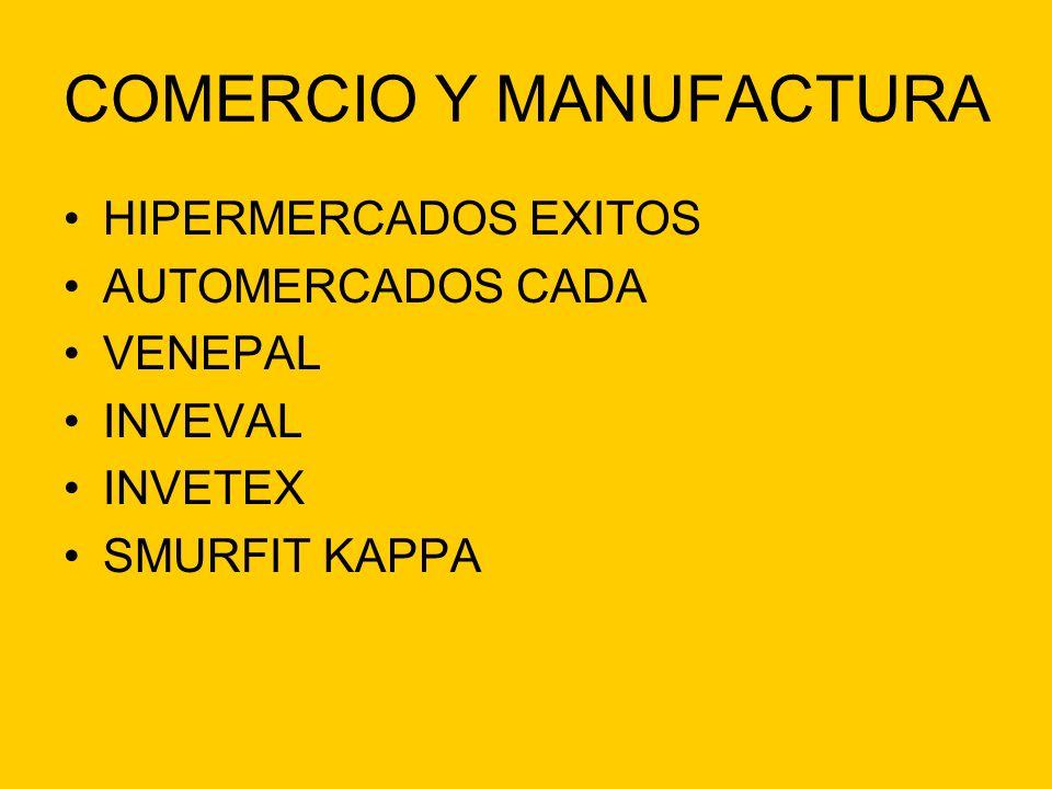 COMERCIO Y MANUFACTURA HIPERMERCADOS EXITOS AUTOMERCADOS CADA VENEPAL INVEVAL INVETEX SMURFIT KAPPA