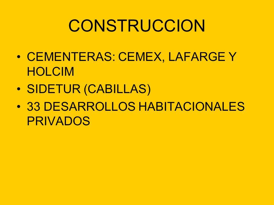 CONSTRUCCION CEMENTERAS: CEMEX, LAFARGE Y HOLCIM SIDETUR (CABILLAS) 33 DESARROLLOS HABITACIONALES PRIVADOS
