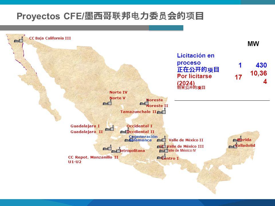 Proyectos CFE/ CC Valle de M é xico II MW Licitación en proceso 1430 Por licitarse (2024) 17 10,36 4 CC Baja California III CC Valle de México III CC