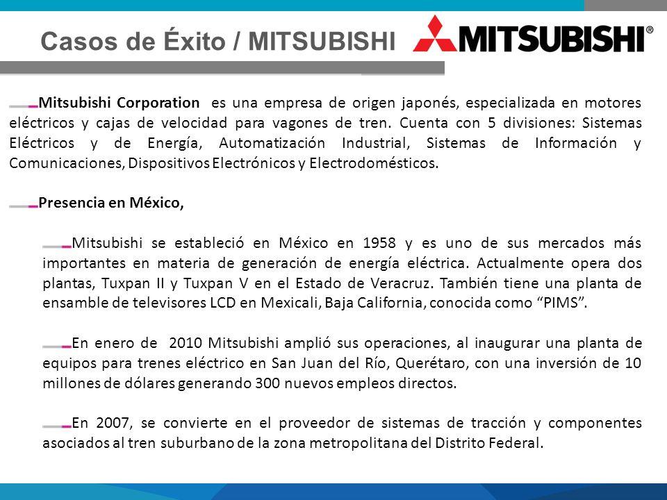 Casos de Éxito / MITSUBISHI Mitsubishi Corporation es una empresa de origen japonés, especializada en motores eléctricos y cajas de velocidad para vag