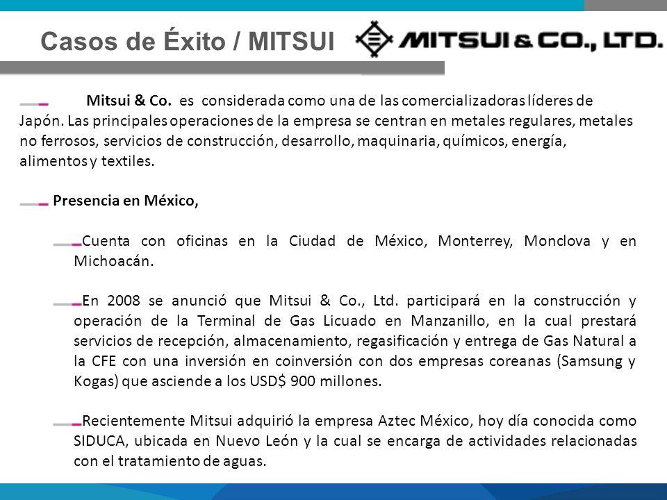 Casos de Éxito / MITSUI Mitsui & Co. es considerada como una de las comercializadoras líderes de Japón. Las principales operaciones de la empresa se c