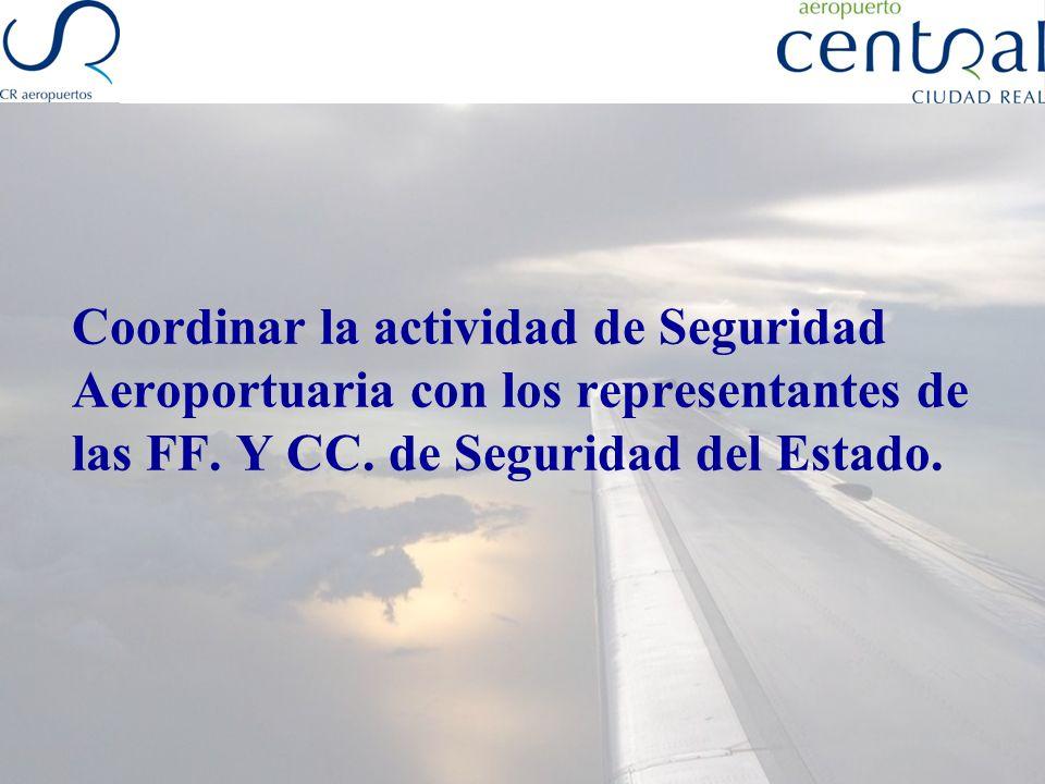 Coordinar la actividad de Seguridad Aeroportuaria con otros organismos oficiales: AENA Dirección General Aviación Civil (Ministerio de Fomento) Aduanas Subdelegación de Gobierno ó Delegación, en su caso Otros
