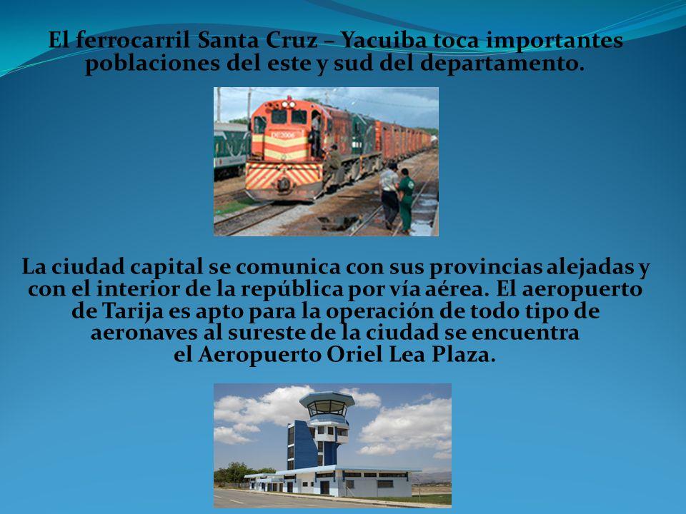El ferrocarril Santa Cruz – Yacuiba toca importantes poblaciones del este y sud del departamento. La ciudad capital se comunica con sus provincias ale