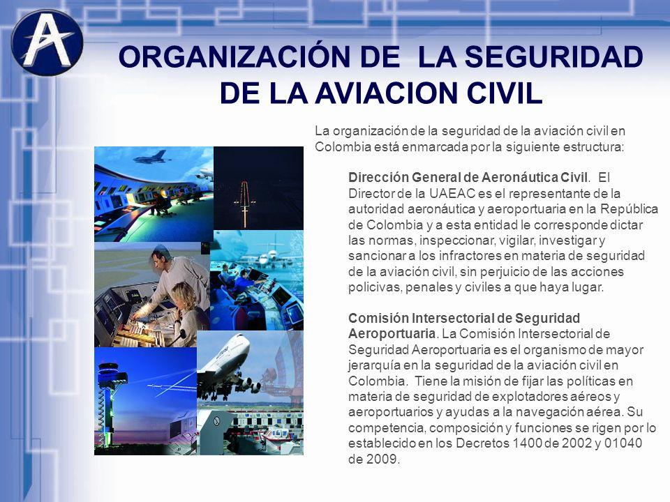 ORGANIZACIÓN DE LA SEGURIDAD DE LA AVIACION CIVIL La organización de la seguridad de la aviación civil en Colombia está enmarcada por la siguiente est