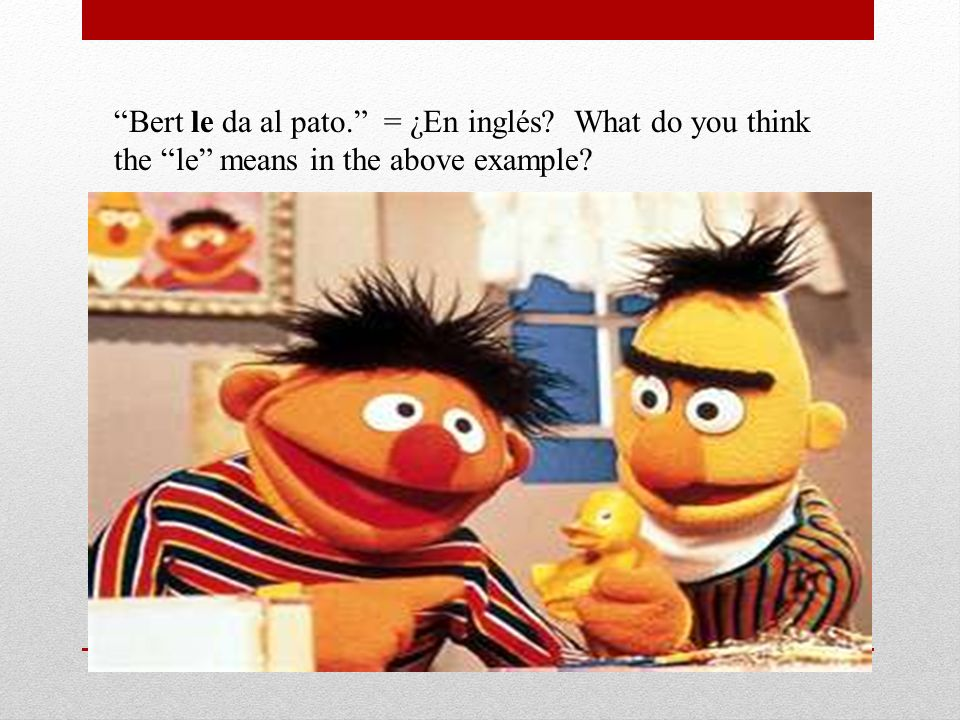 Bert le da al pato. = ¿En inglés? What do you think the le means in the above example?