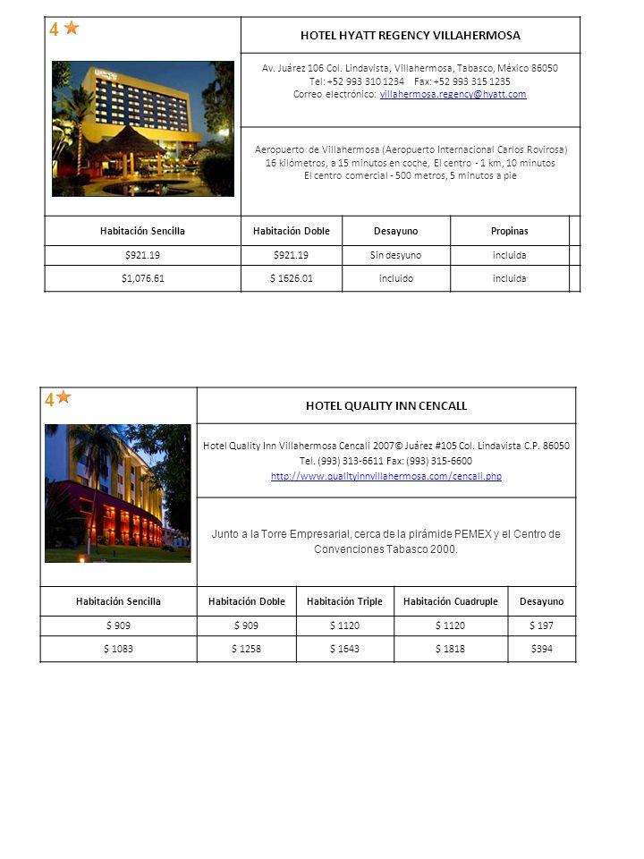 4 HOTEL QUALITY INN CENCALL Hotel Quality Inn Villahermosa Cencali 2007© Juárez #105 Col.
