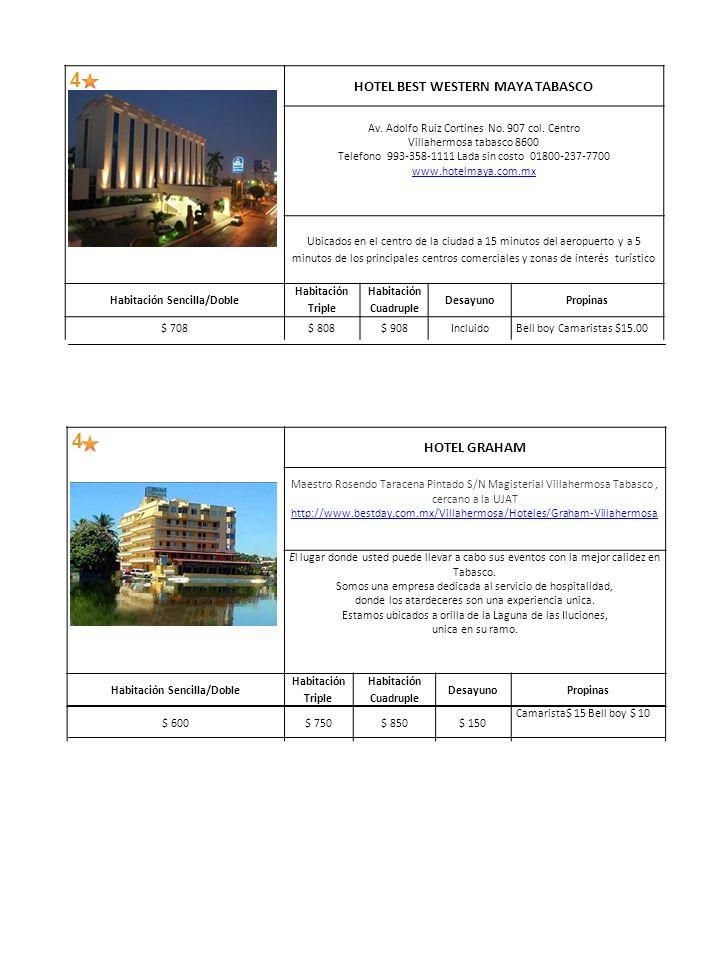 4 HOTEL BEST WESTERN MAYA TABASCO Av. Adolfo Ruiz Cortines No.