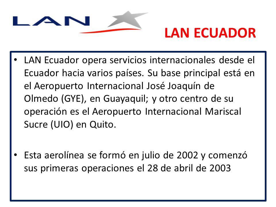 LAN ECUADOR LAN Ecuador opera servicios internacionales desde el Ecuador hacia varios países.
