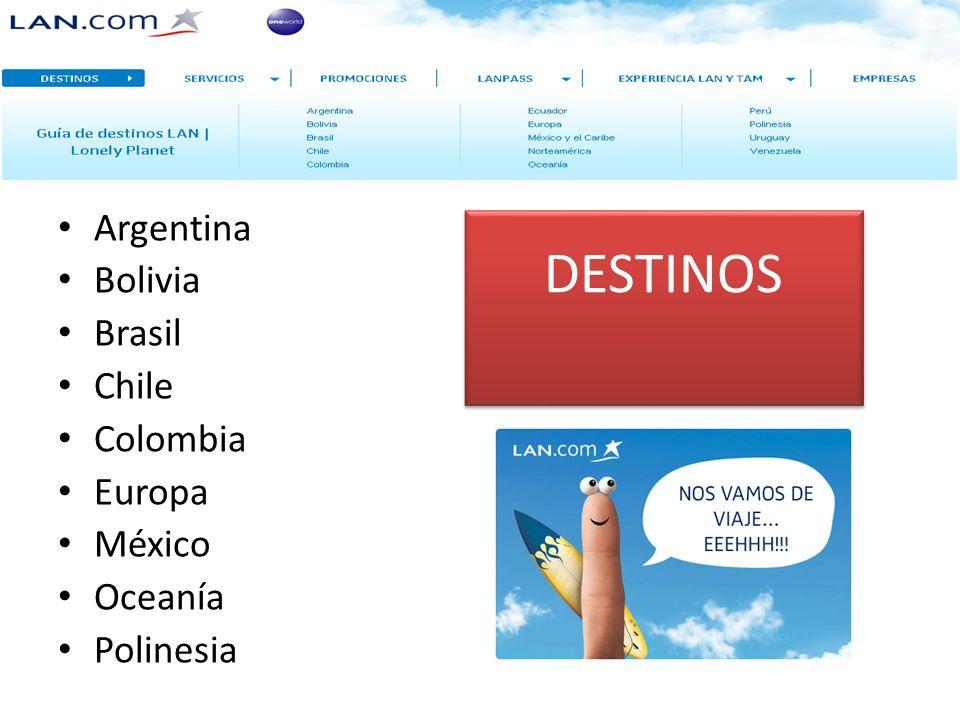 DESTINOS Argentina Bolivia Brasil Chile Colombia Europa México Oceanía Polinesia
