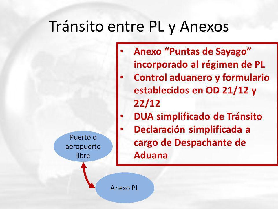 Tránsito entre PL y Anexos Puerto o aeropuerto libre Anexo PL Anexo Puntas de Sayago incorporado al régimen de PL Control aduanero y formulario establecidos en OD 21/12 y 22/12 DUA simplificado de Tránsito Declaración simplificada a cargo de Despachante de Aduana
